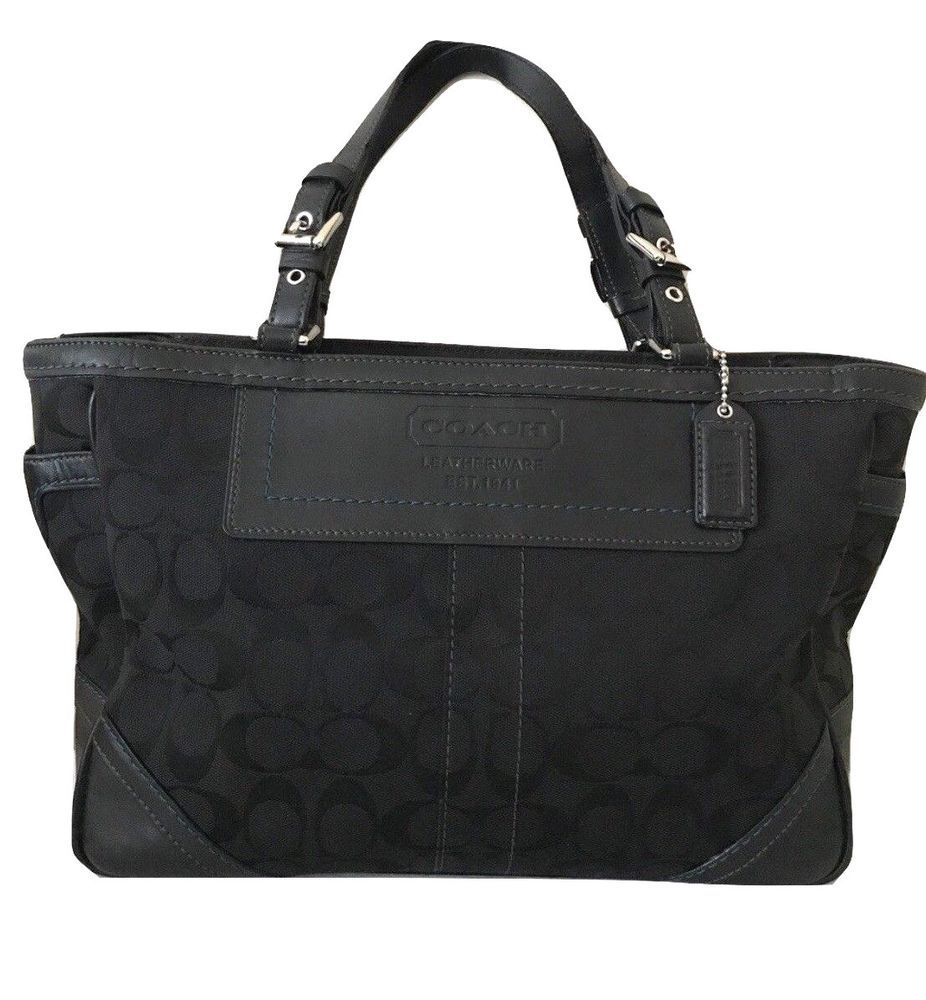 bb569427696 Black Coach Signature Tote Bag