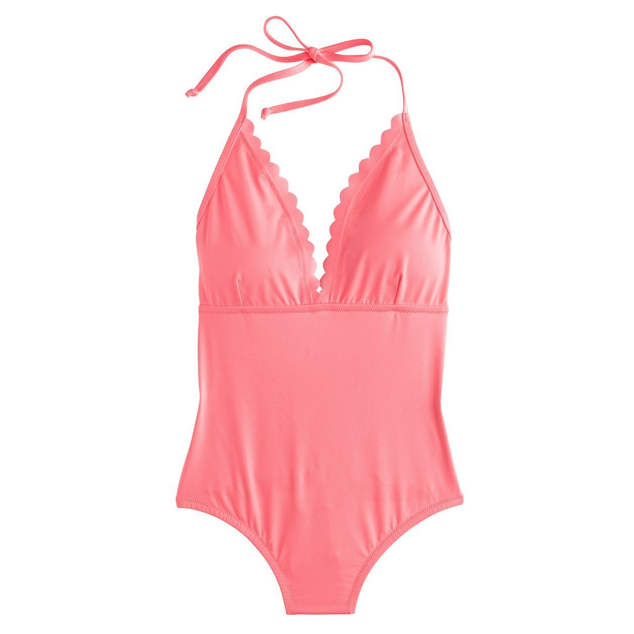 3beb69613da J.Crew Womens Scalloped V-Neck One-Piece Swimsuit In Italian Matte (Neon  Coral, Size 0)