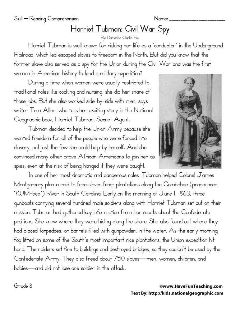 Harriet Tubman Civil War Spy Reading Comprehension Worksheet Have Fun Teach Reading Comprehension Worksheets Social Studies Worksheets Sixth Grade Reading 8th grade inference worksheets