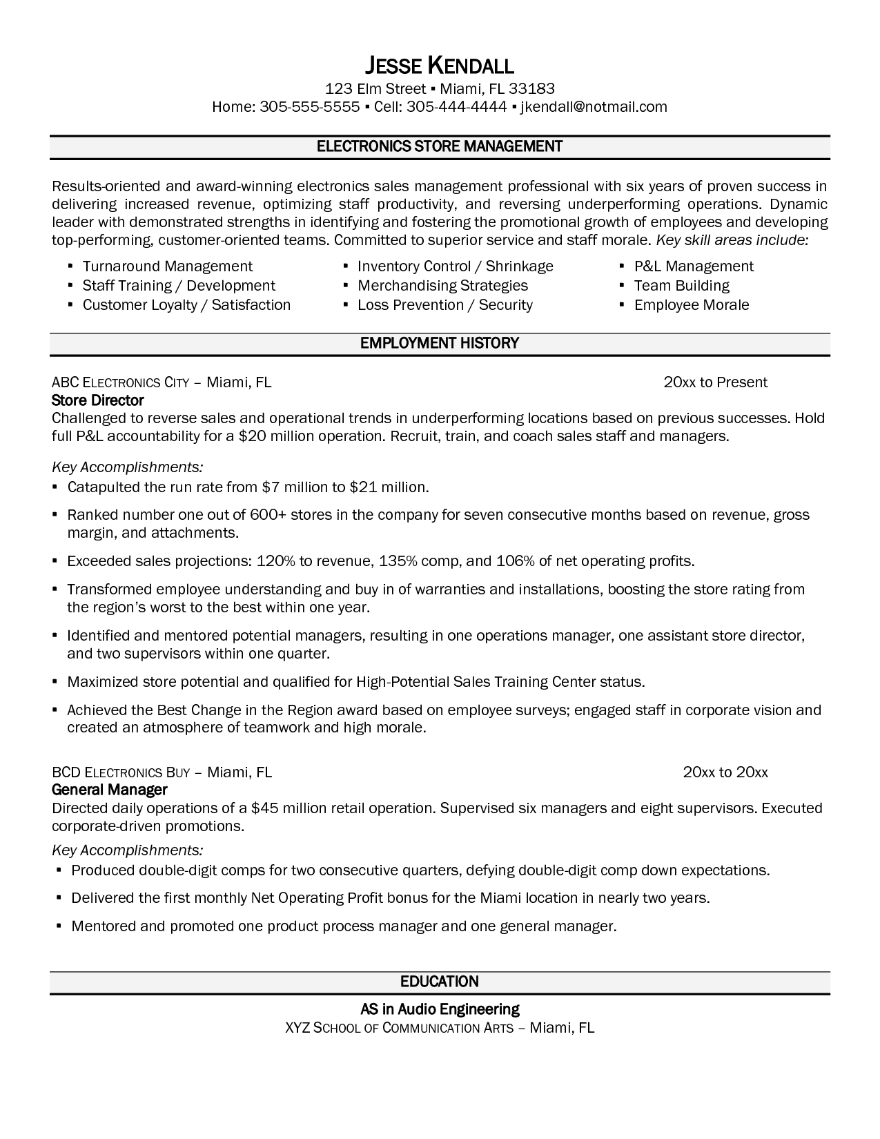 Store Manager Resume Grocery Store Resume Cover Letter Retail Manager Sample Example