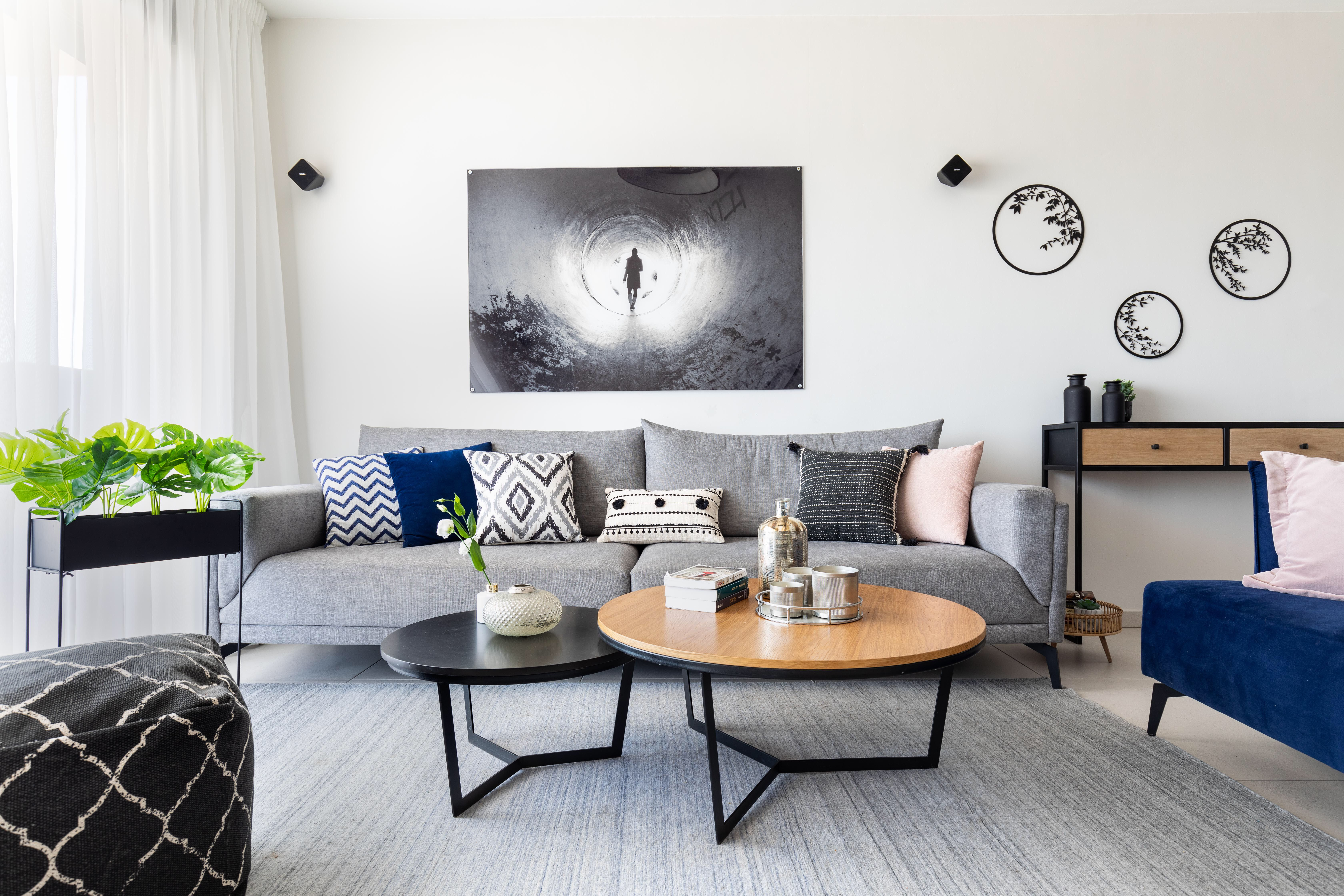 Modern Scandinavian Living Room With Black White Gray Blue And Pink Color Palette Scandinavian Design Living Room