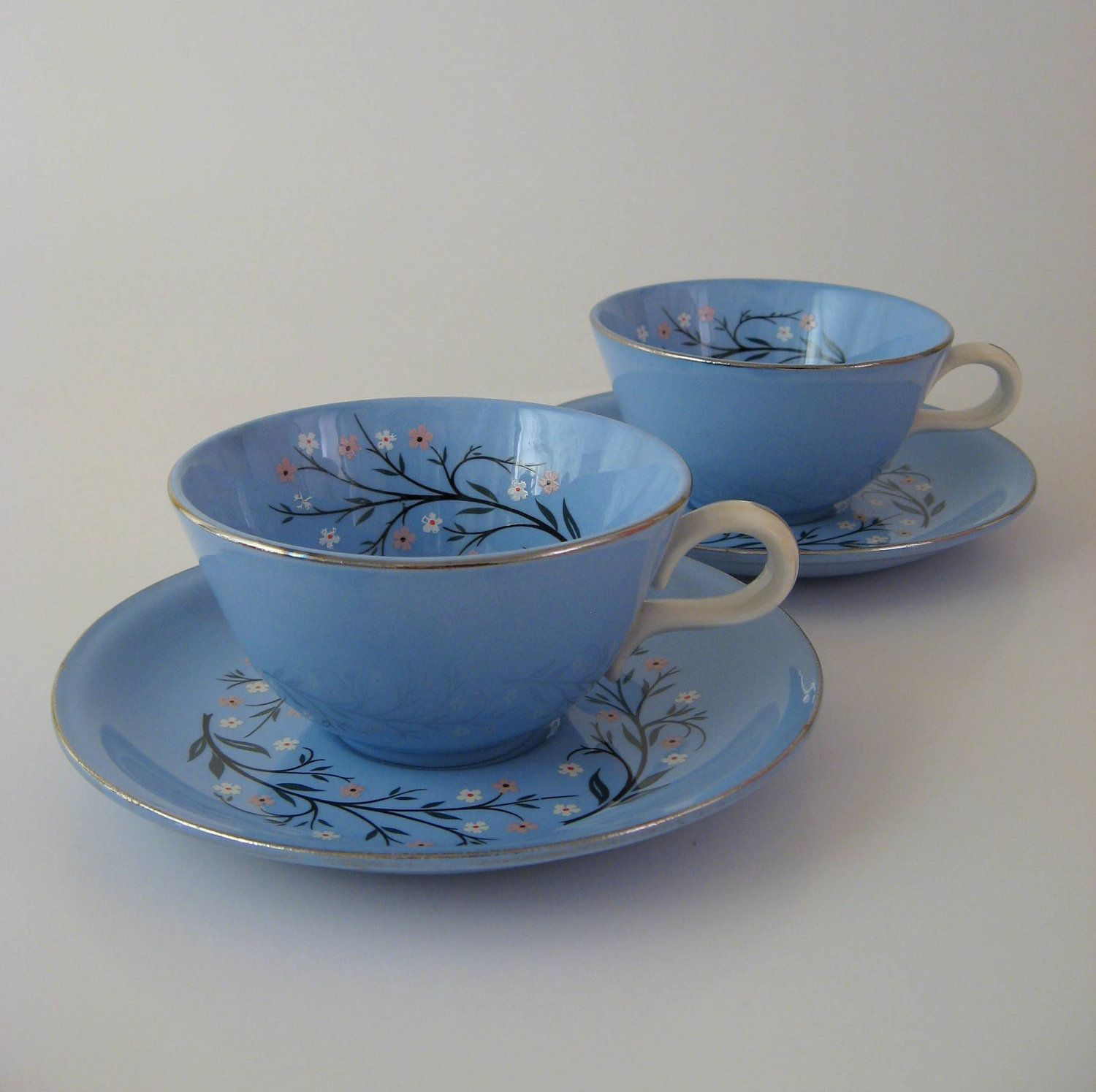 1950s Dishes: Vintage Cup And Saucer Set For 2, Homer Laughlin Bluemont