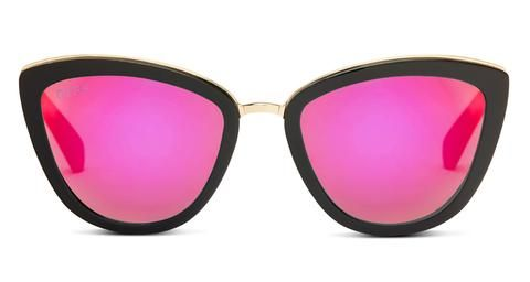 4de162b82d7fe DIFF Eyewear Rose model with matte black frame and with pink mirror lens  with handmade acetate frame and buy one give one charity.