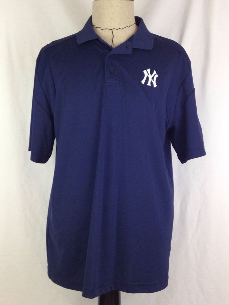 NEW YORK YANKEES Polo Shirt Mens L Size Blue Baseball Majestic MLB AL  Polyester  Majestic  NewYorkYankees 155f26ce672