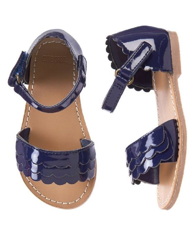 ad6fd68f8814 Gymboree Girls Toddler 7 9 Navy Blue Patent Scalloped Sandals Shoes NEW   Gymboree  Sandals