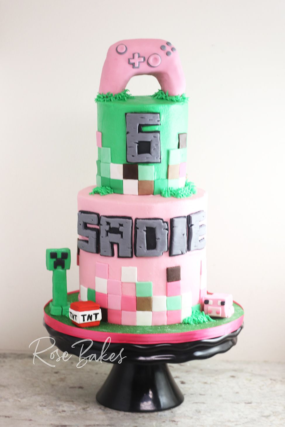 A Pink Minecraft Birthday Cake for a Girl  Rose Bakes in 12