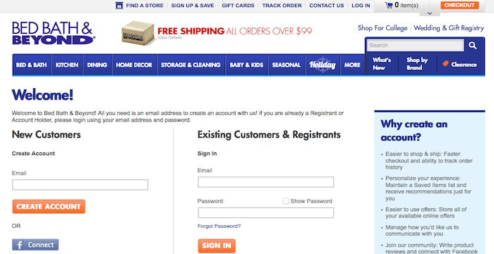 BedBathandBeyond Login Store signs, Bath gift, College