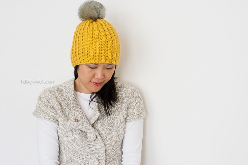 Lolly-Poms Easy Ribbed Crochet Beanie | Crochet | Pinterest