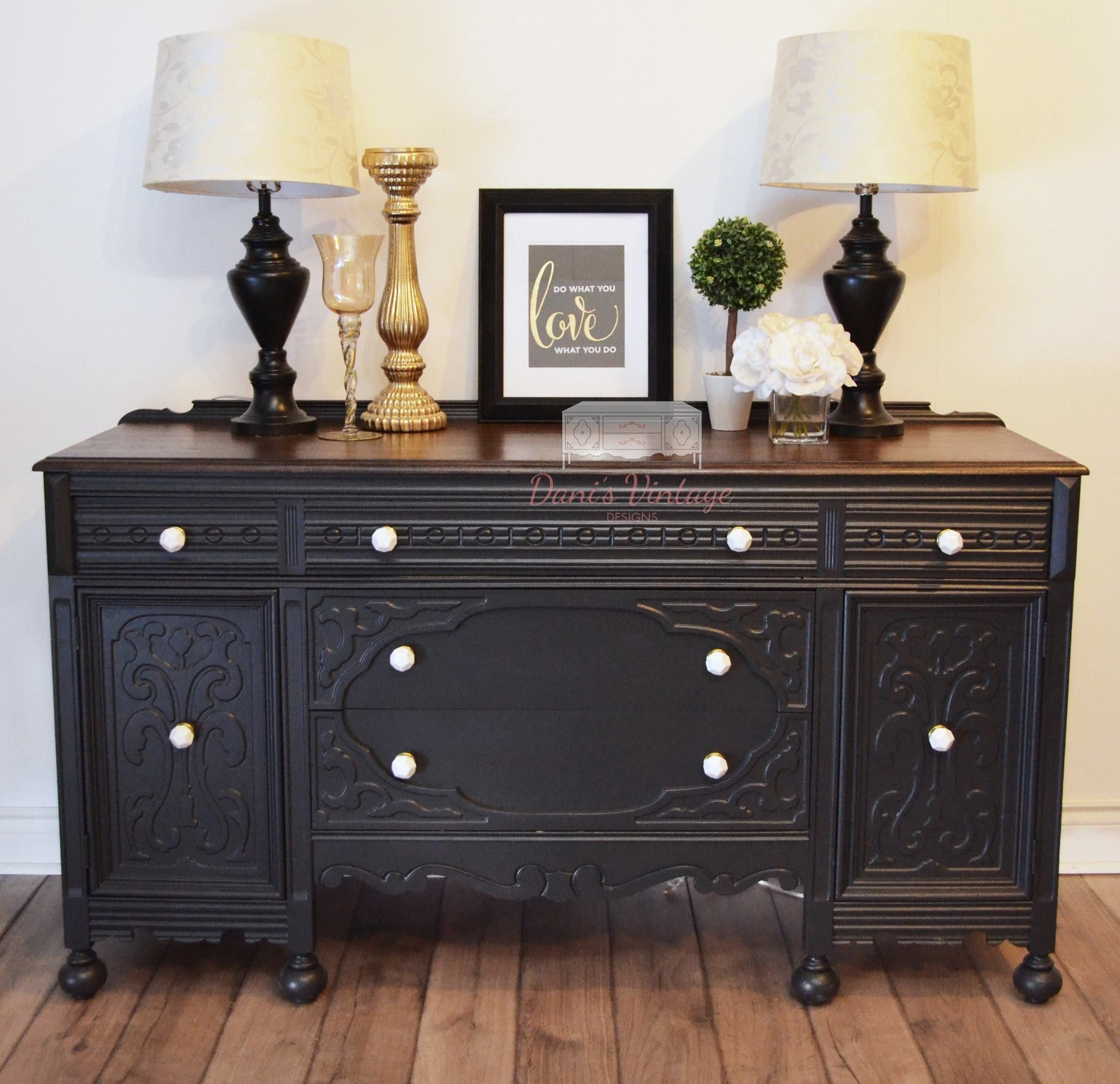 Cool Antique Black Buffet Sideboard With Stained Top Chalk Interior Design Ideas Helimdqseriescom