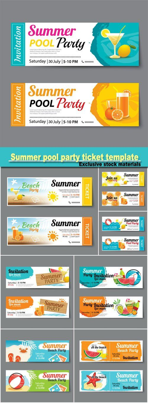 Summer pool party ticket template Pinterest Ticket template