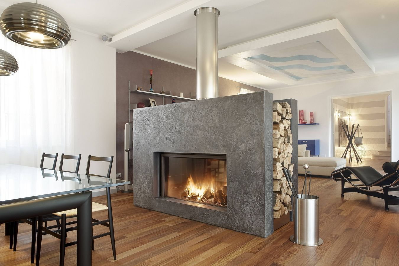 Modern home design extraordinary luxurious double sided Contemporary wood fireplace insert