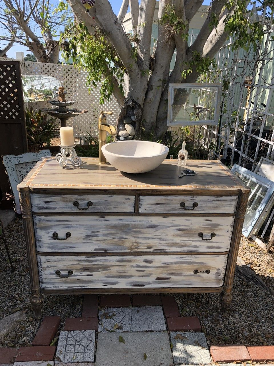 Sold Bathroom Vanity Cottage Chic Farmhouse Old White With Coco