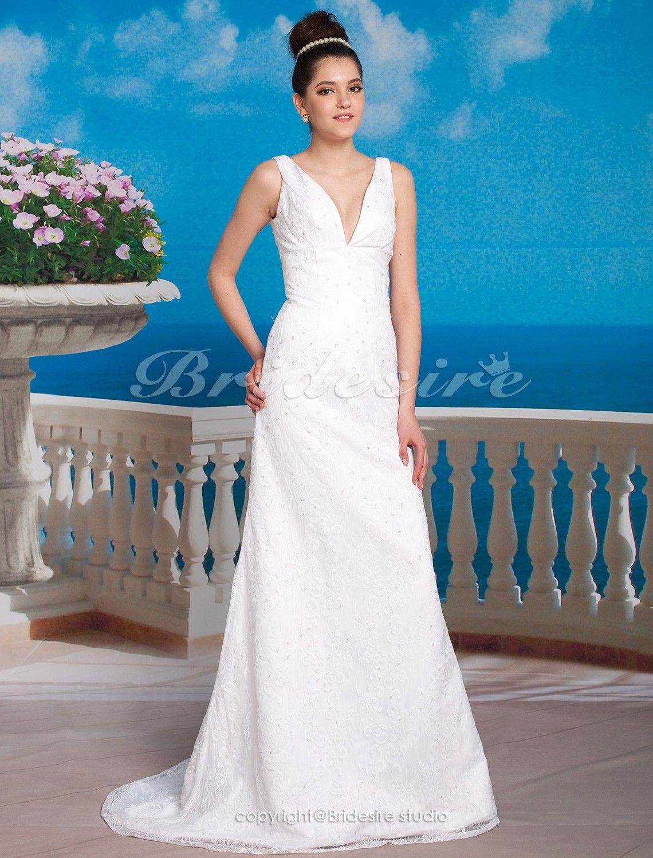Sheath column lace sweep brush train vneck wedding dress inspired