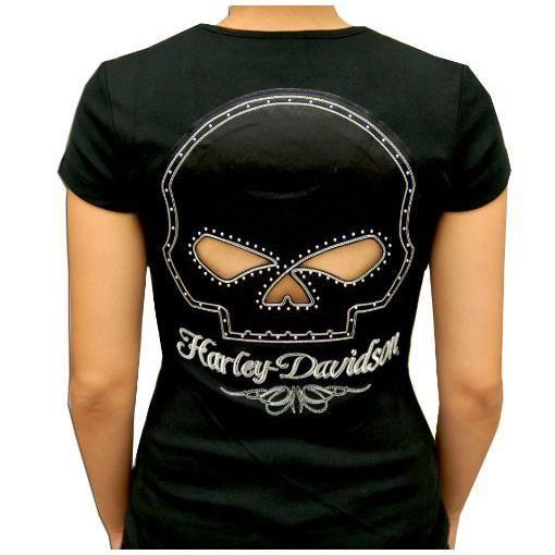 6faff834 Harley-Davidson Ladies Show-Thru Willie G Skull Back Short Sleeve ...