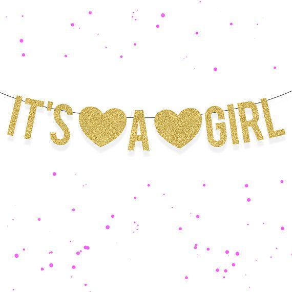 It S A Girl Gold Glitter Banner Baby Shower Garland Gold Glitter