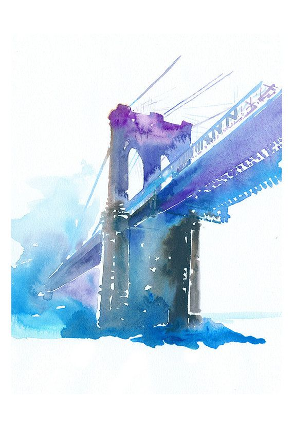 Brooklyn Bridge Watercolor Print New York By Silverridgestudio