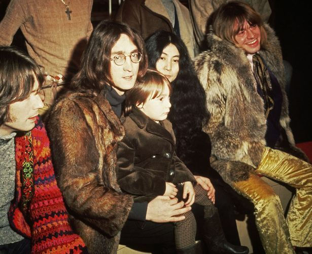 John Lennon, Yoko Ono with his John's son Julian, Eric Clapton and Brian Jones pictured at a press conference for the Rolling Stones' Rock & Roll Circus project