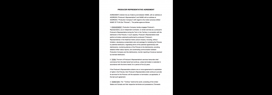 Producer Representative Agreement Agreement With The Film Producer