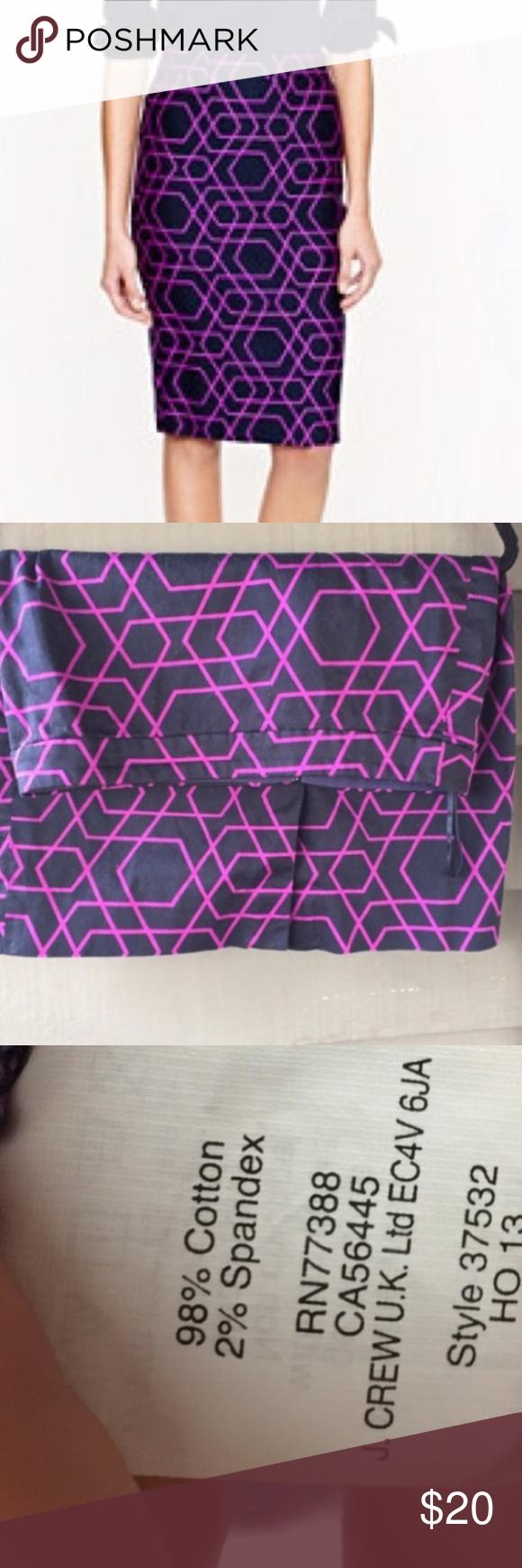 J. Crew black and purple geometric pencil skirt Reposhing - J. Crew pencil skirt, lightweight cotton.  Great fit! J. Crew Skirts Pencil