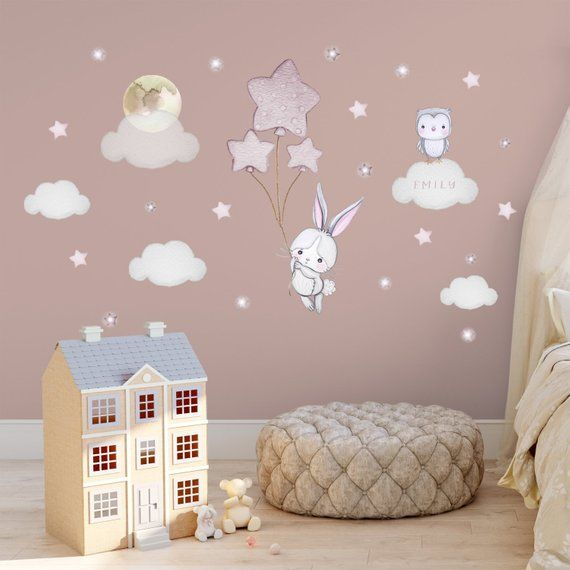 Bunny Balloon Wall Decal Baby Room Sticker