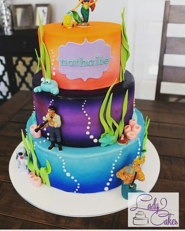 Under the sea themed birthday cake underwater cake idea ariel