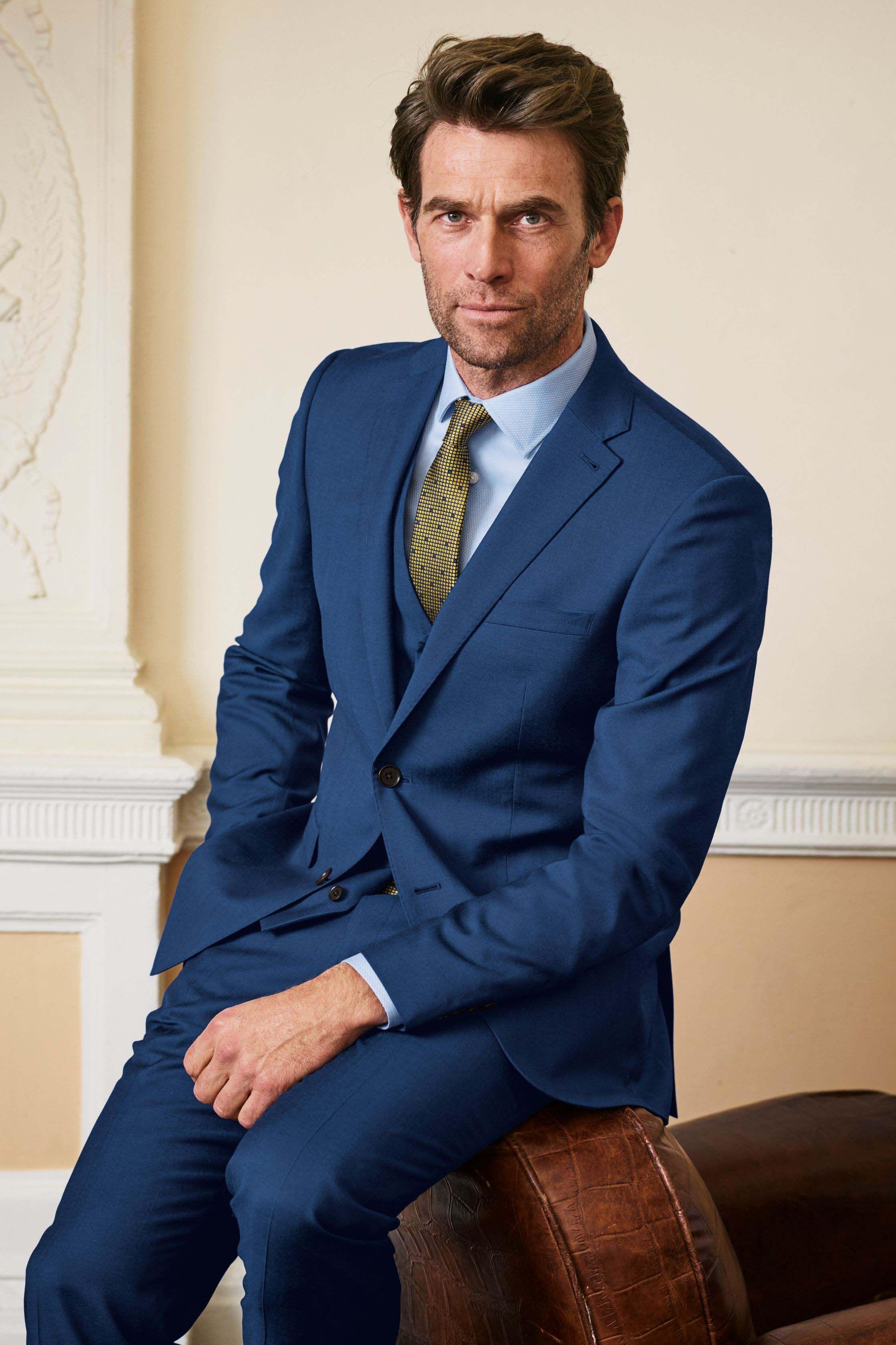 28e71b197191 Mens Next Bright Blue Slim Fit Italian Wool Suit: Trousers - Blue ...