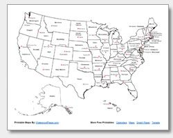 Printable Us Map With State Names And Capitals Homeschool - Us map of states with names