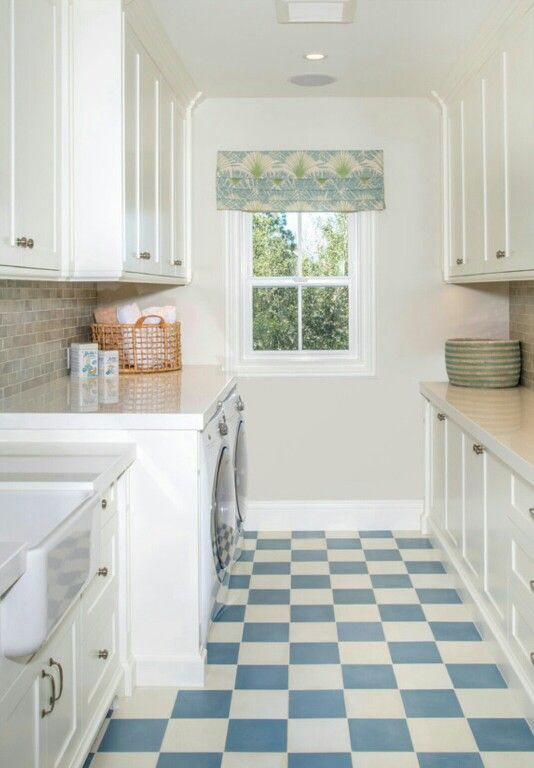 Laundry Room With Fabulous Blue And White Checkered Flooring Laundry Room Flooring Best