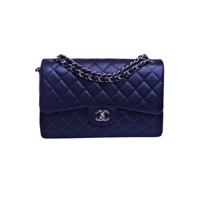 Chanel Midnight Blue Quilted Caviar Jumbo Classic 2 55 Double Flap Bag This Color Is Stunning