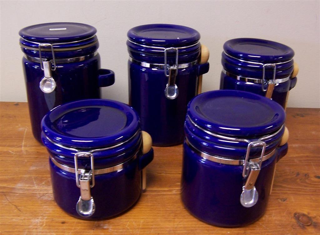Oggi Cobalt Blue Canister Set Blue Kitchen Canisters Kitchen Canisters Blue Canister
