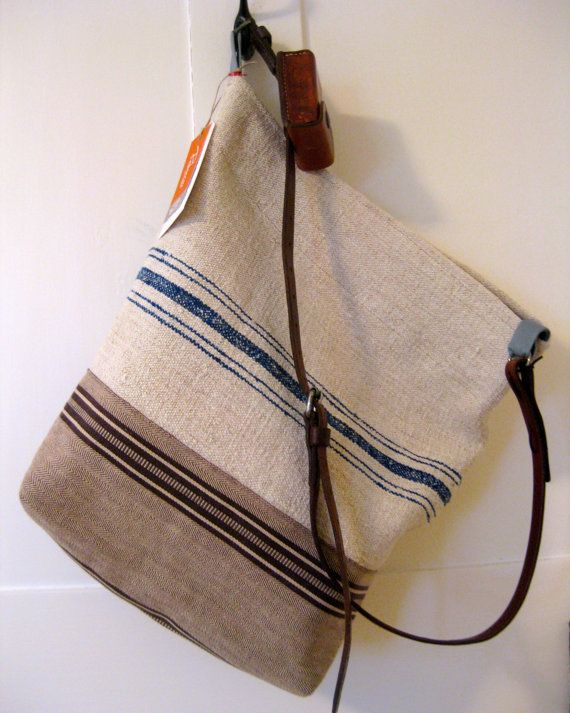 Espadrille Stripe Shoulder Bag. Vintage Leather Strap.  Burlap Purse. Lined. on Etsy, $200.00
