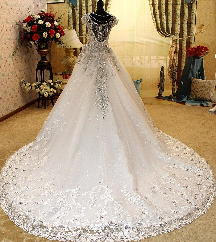 Romantic Diamonds Studded Cathedral Train White Wedding Dress ...