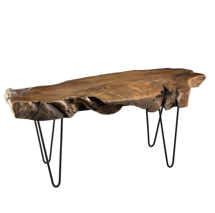 Table Basse En Teck Pietement Epingles En Metal Noir Collection