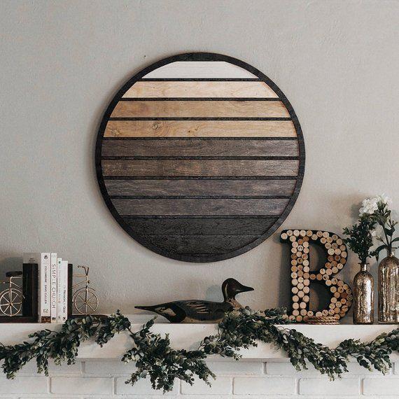 Modern Geometric Wood Wall Art- Round Wood Wall Ha