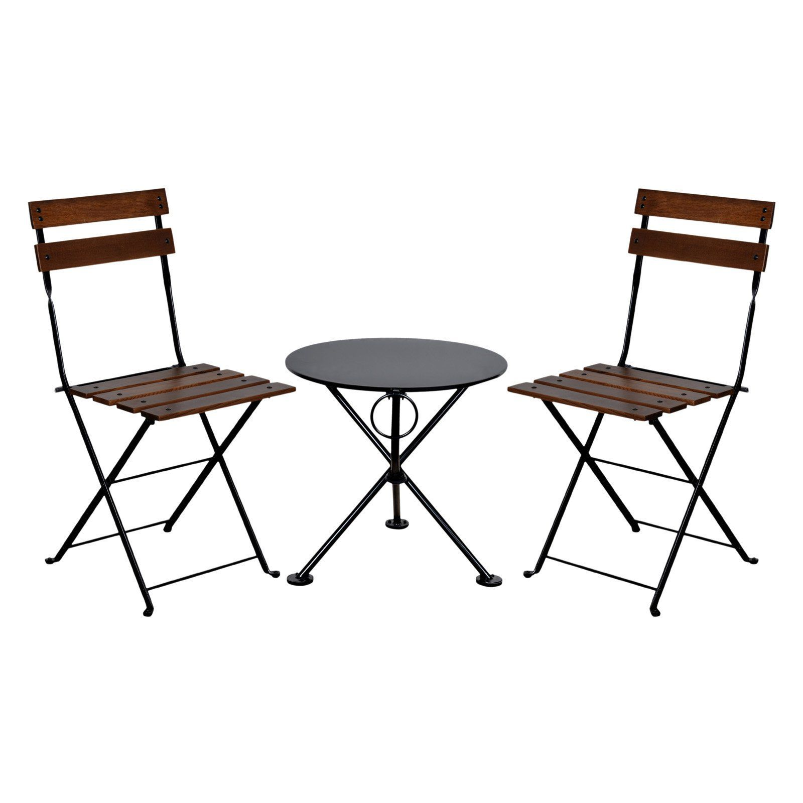 Outdoor Furniture Designhouse French Cafe Bistro Chestnut Wood 3 Piece Round Metal Folding Patio Set