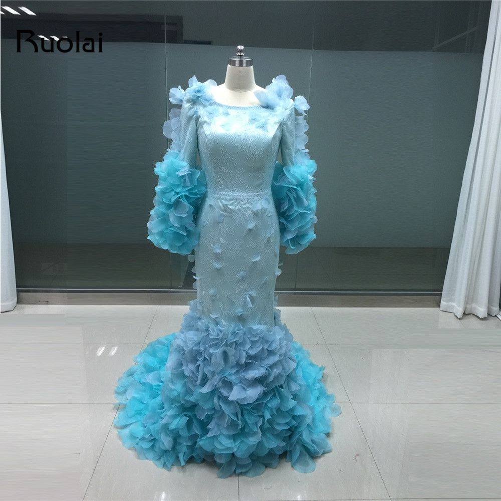 Real fashion dubai long sleeve prom dress flower lace tiered evening
