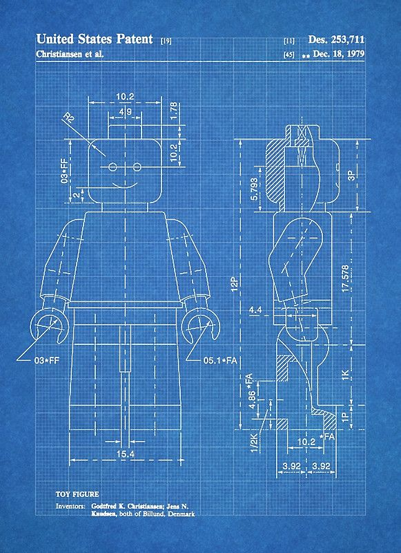 Lego minifigure us patent art mini figure blueprint poster by steve lego minifigure us patent art mini figure blueprint by steve chambers malvernweather Choice Image