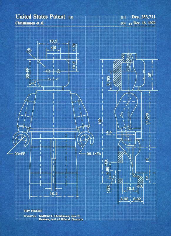 Lego minifigure us patent art mini figure blueprint poster by steve lego minifigure us patent art mini figure blueprint by steve chambers malvernweather Images