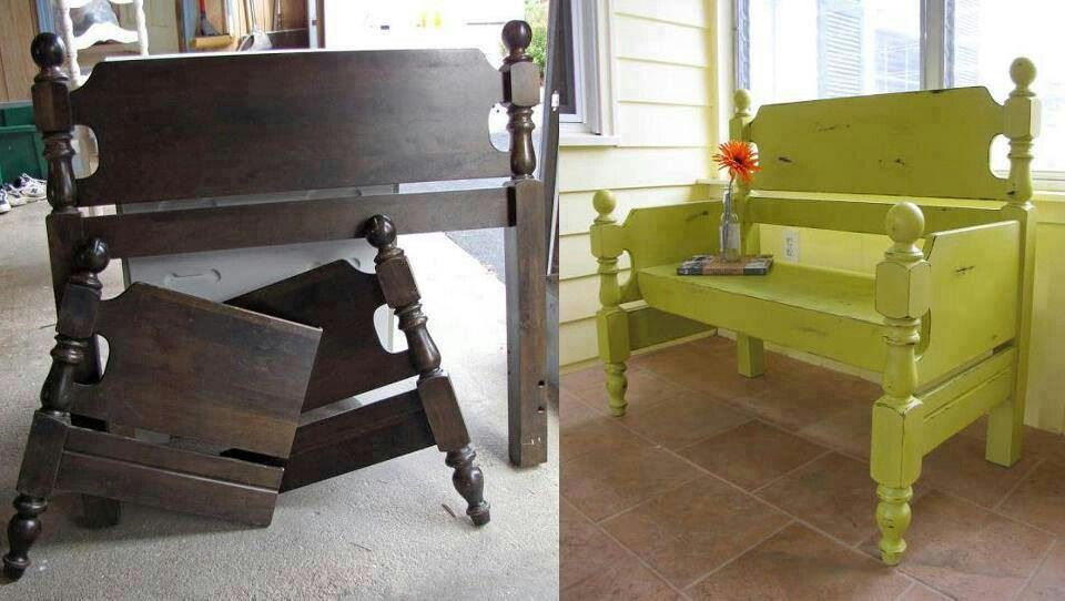Headboard Footboard Into A Bench Diy Ideas For The Home Pinterest