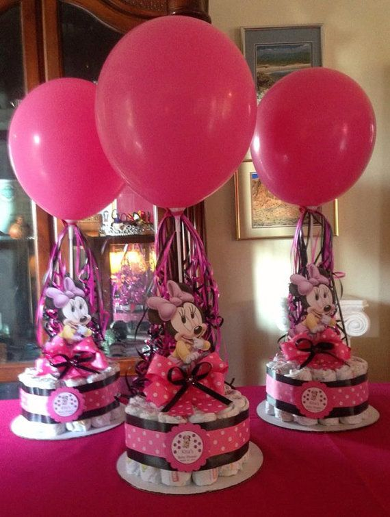 Minnie Mouse Baby Shower Diapers Centerpiece By