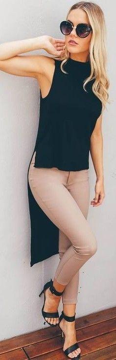 Black 'The Flip Side Top + Tan 'On Time Pants'