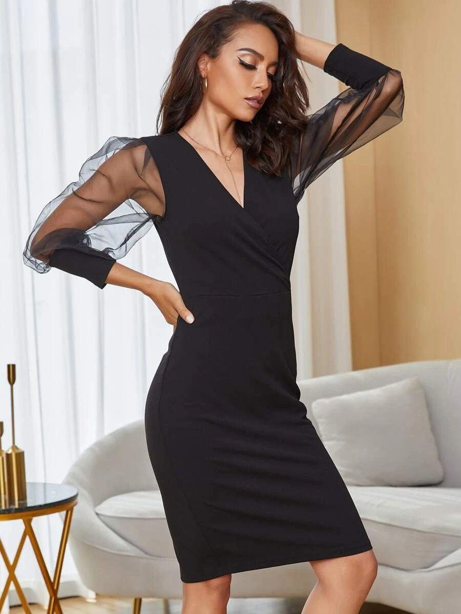 Affiliate Link Yilibasha Surplice Neck Organza Sleeve Pencil Dress Sheer Mesh Bodycon Dress Mesh Sleeved Dress Dresses [ 1198 x 900 Pixel ]