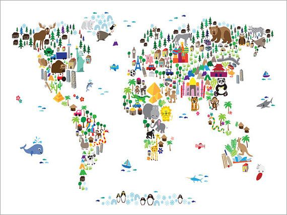 Animal Map Of The World For Children And Kids A Map Of The World - Us map with famous landmarks