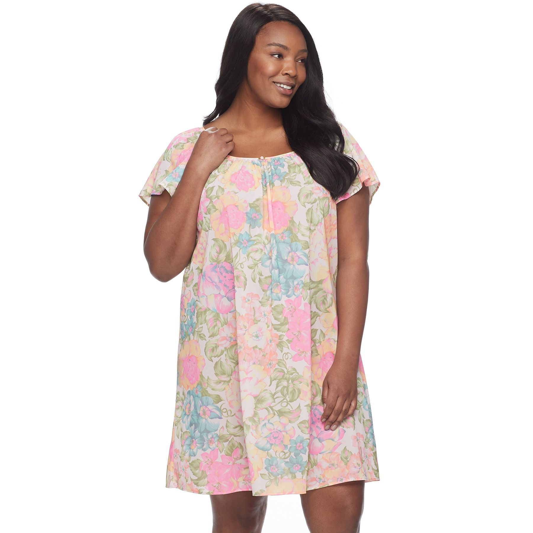 9285370caf0 Plus Size Miss Elaine Printed Short Nightgown