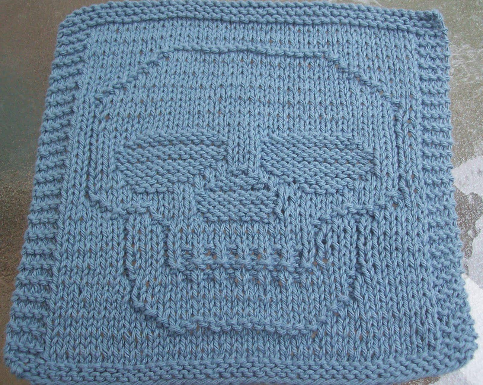 Knitted Dishcloth Patterns | Just a Skull Knit Dishcloth Pattern ...