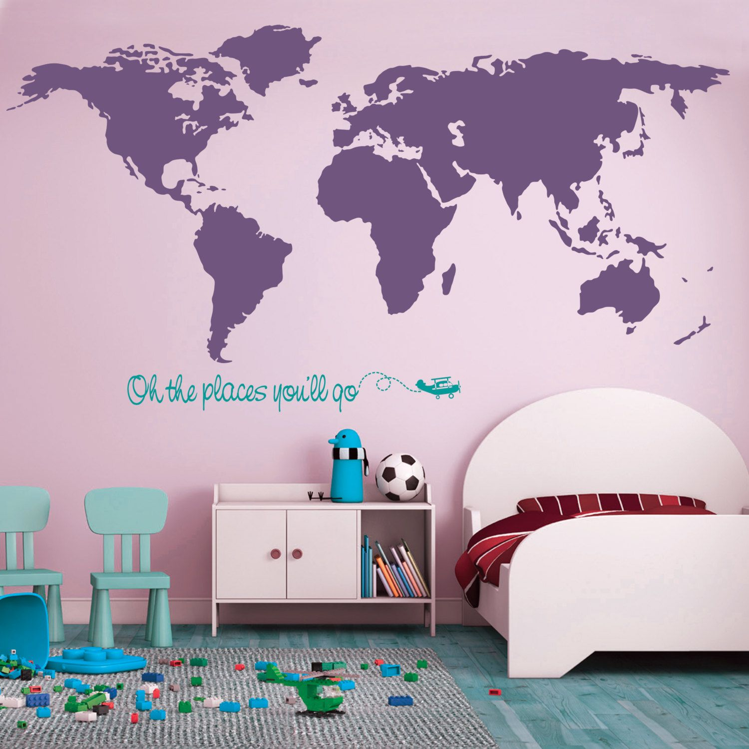 50off sale world map wall decal baby girl baby boy nursery world map wall decal baby girl baby boy nursery large world map with quote large world map nursery wall decal by on etsy gumiabroncs Image collections