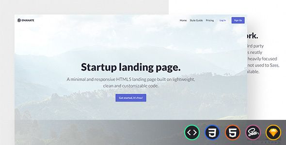 Emanate startup landing page HTML template,HTML Static Website ...