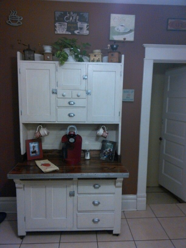 Redo of an antique hoosier cabinet turned into a coffee ...