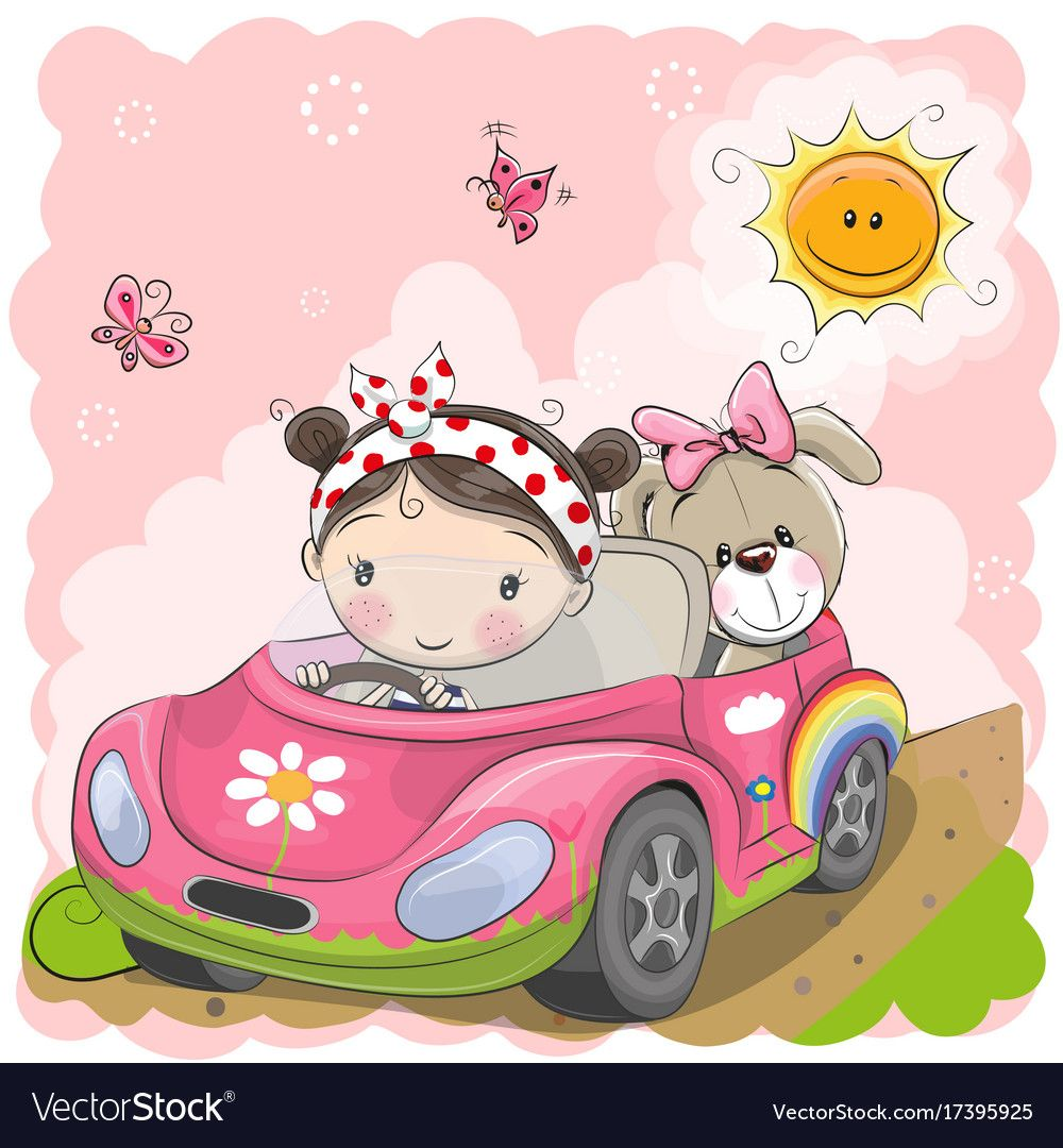 Cute Cartoon Girl Goes On A Car Download A Free Preview Or High