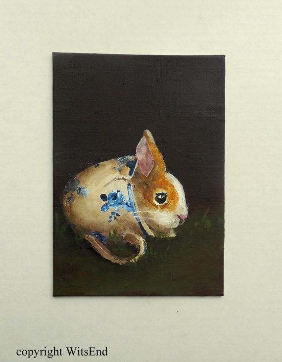 'BEING THANKFUL'. Bunny Teacup painting original ooak autumn fall rabbit by 4WitsEnd via Etsy